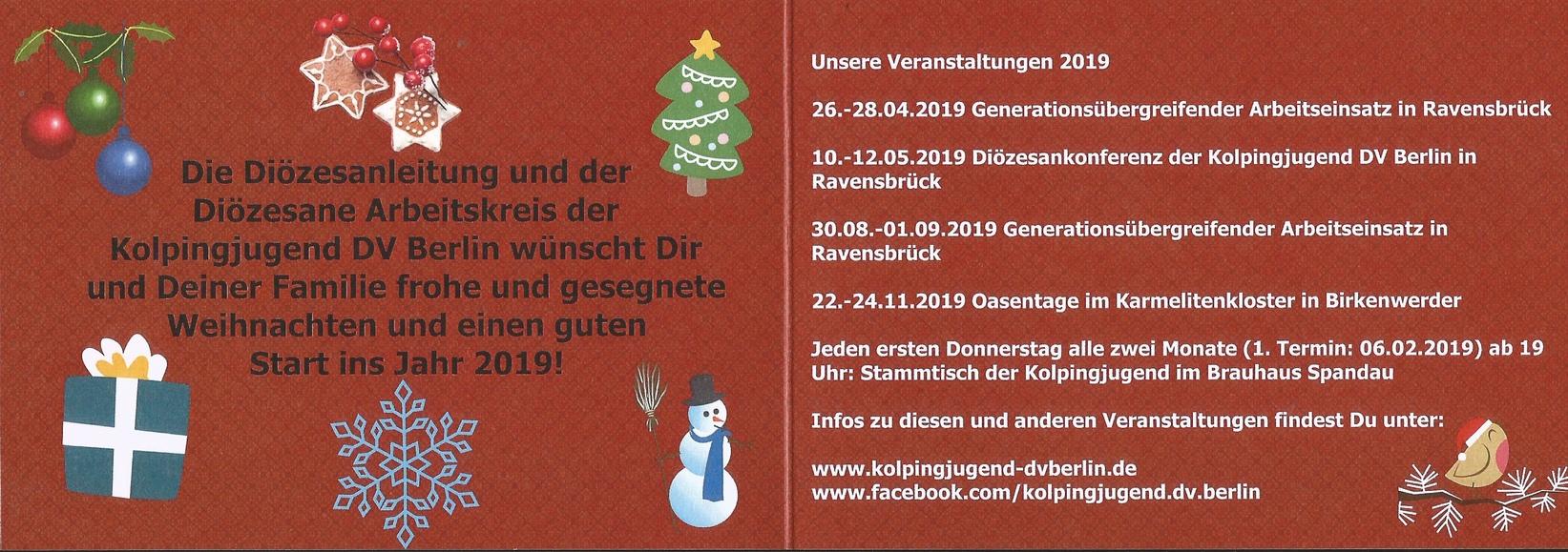 Frohe Weihnachten Berlin.Frohe Weihnachten Kolpingjugend Dv Berlin